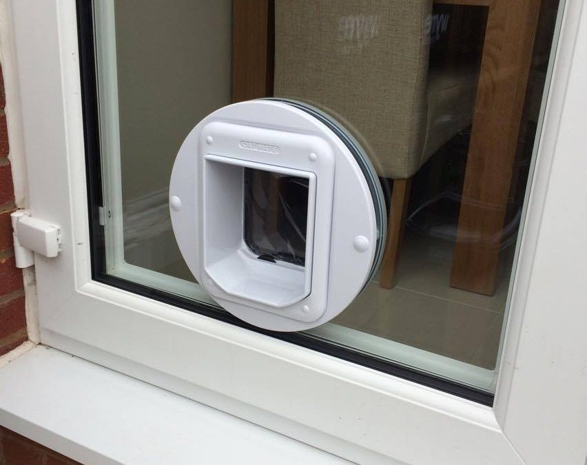 Fitting a cat flap in a double glazed door window for Upvc french doors with cat flap